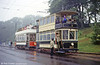 Sheffield 264 and Blackpool 31 seen near the tram depot at Beamish on a wet 24th May 1992.