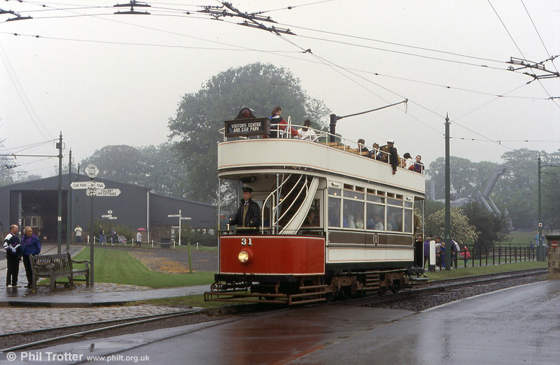 Former Blackpool Marton box car 31, built in 1901, passes the tram depot at Beamish on 24th May 1992.