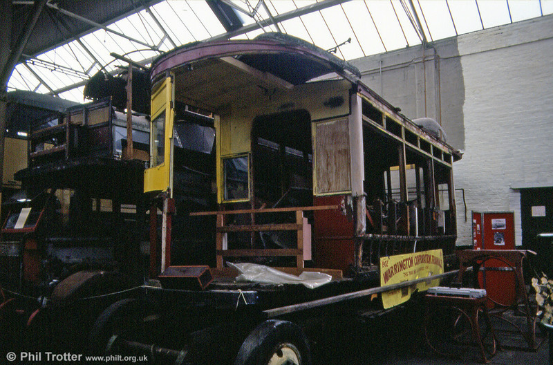 The remains of Warrington car no. 2, a four wheel open top car built by Milnes in 1902, at St. Helens Transport Museum on 12th May 1990.