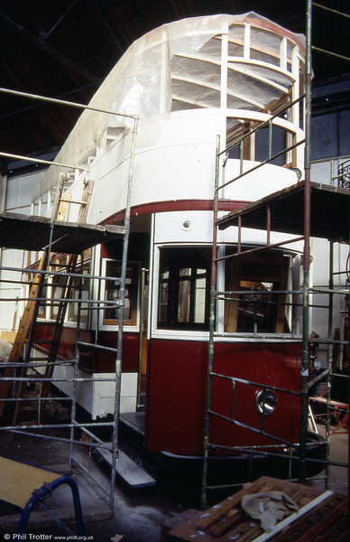 Liverpool 762, one of 12 Priestly bogie cars built in 1930. The car remained in service until 1955 and is seen undergoing restoration at the former Liverpool Pier Head workshop on 30th September 1989.