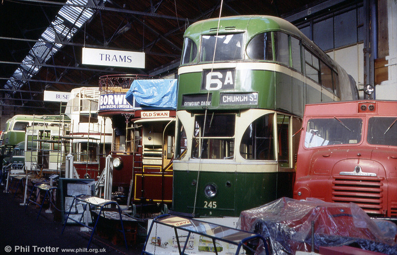 A line up of trams at the former Liverpool Pier Head workshop on 30th September 1989.