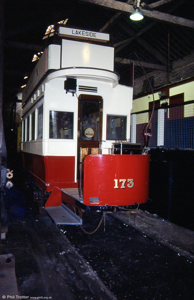 Manchester four-wheel open top car 173, built by Brush in 1901, undergoing restoration at Heaton Park in September 1996.