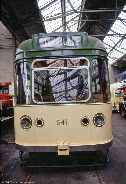 A head on view of 1952-built Blackpool 'Coronation' no. 641 at St. Helens Transport Museum on 12th May, 1990.