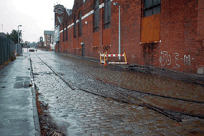 A view from the opposite end of Hessel Street, Weaste looking towards Eccles New Road. The current Metrolink system runs at right angles to these lines in the background. June 2004.