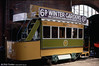 Blackpool 4 was built in 1884 for an experimental tramway in Manchester and was later used for the opening of the tramway at Blackpool in 1885. After that it remained in the town and eventually became a works car. It is seen at Manchester Museum of Science and Industry on 12th May 1990.