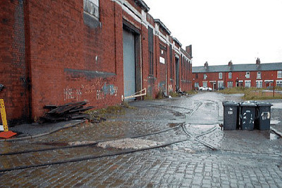 The rear of the former Salford tram depot at Weaste shwing track and pointwork still in situ. June 2004.