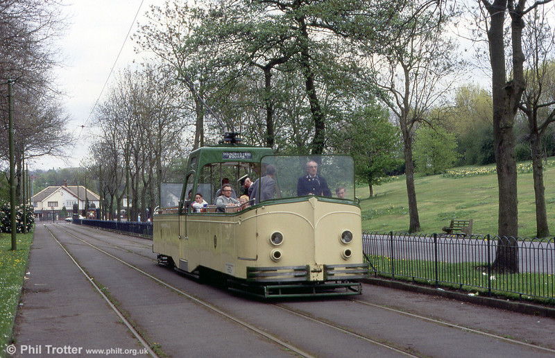 Blackpool 600/225 in action on the Heaton Park Tramway on 6th May 1991.