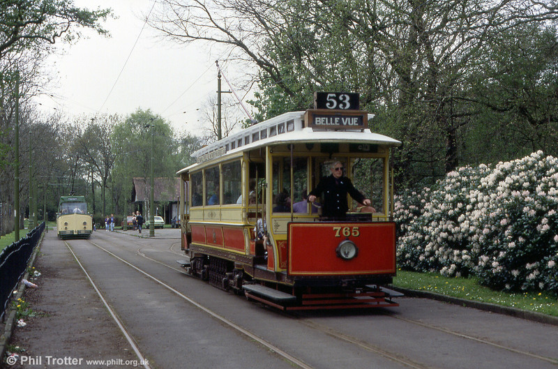 Manchester, Heaton Park car 765 running on 6th May, 1991. The car is a 'California' type 8-wheel single decker built in 1914.