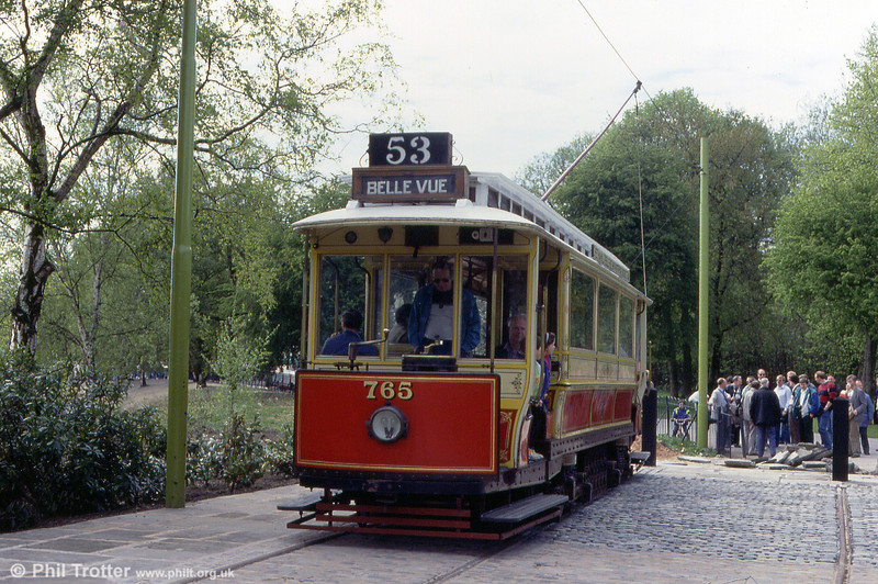 On its home territory at Heaton Park, Manchester, is that city's car 765 seen at the Lakeside terminus on 6th May, 1991.