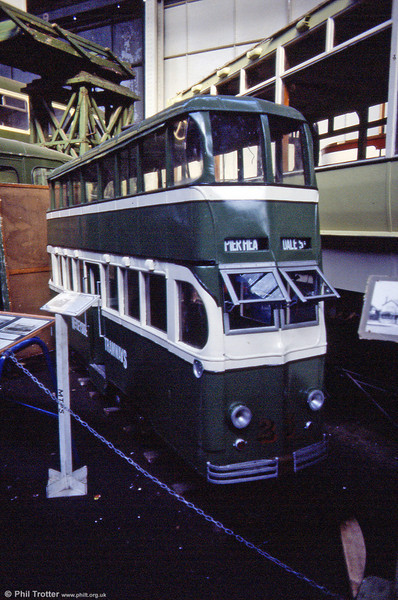 A 15 inch gauge replica of one of the Darwen streamliners which later passed to Llandudno & Colwyn Bay. This was built in 1949 and became the tram which led eventually to the construction of the former Eastbourne and present day Seaton narrow gauge tramways. Seen at Liverpool Pier Head workshop on 30th September 1989.