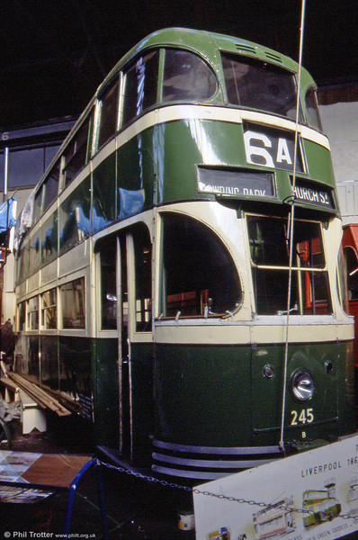Now at last under restoration at the Wirral Tramway, this is Liverpool 245 a 4-wheel streamlined car of 1938 vintage at the Liverpool Pier Head workshop on 30th September 1989.