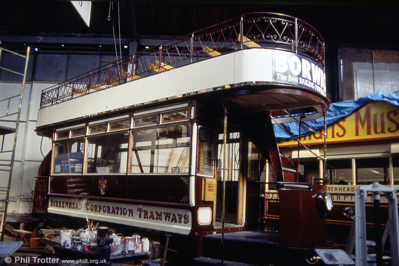 Now back in its home town, this is 1901-built Birkenhead 20 undergoing restoration at Liverpool on 30th September 1989.