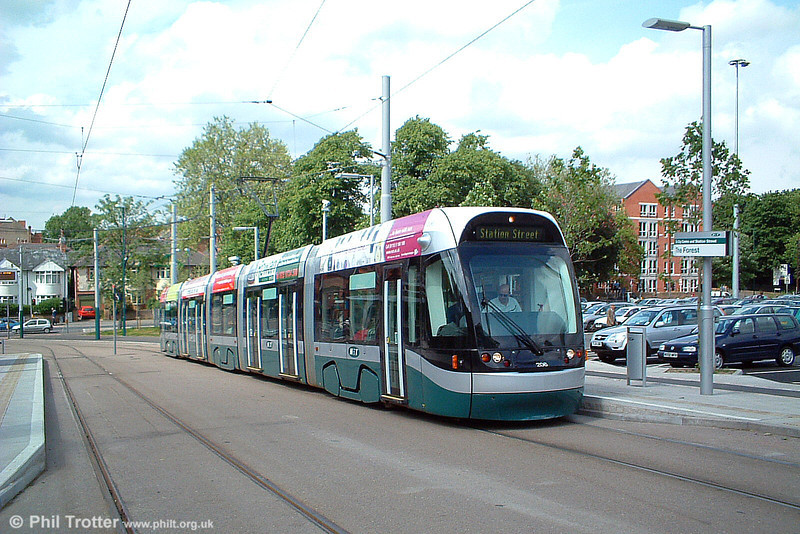 Car 206 at The Forest on 29th May 2004. A key feature of NET is that it has five large Park & Ride car parks along the route; the car park at The Forest is the largest, with a capacity for 982 vehicles.