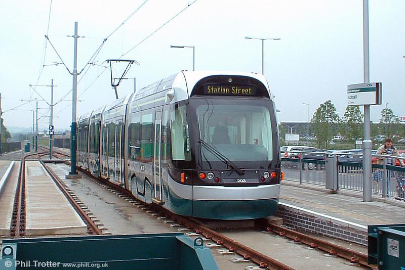 Car 203 waits at Hucknall terminus on 29th May 2004.