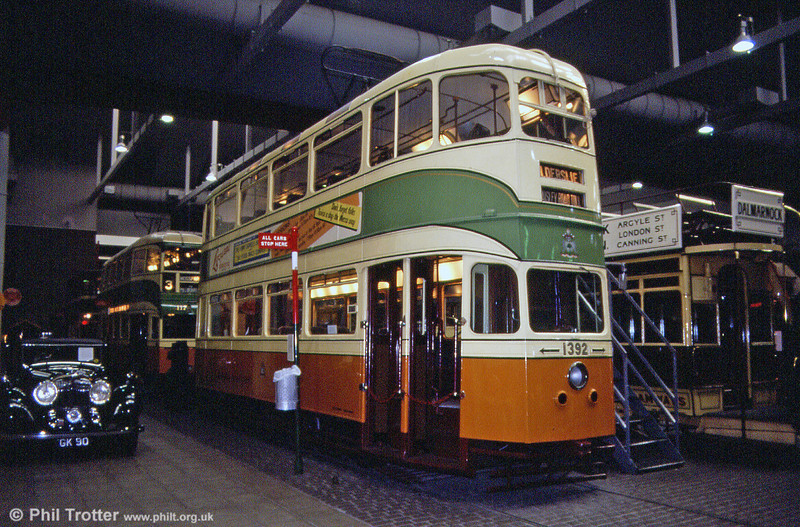 The ultimate development of the Glasgow tramcar was the 'Cunarder'. 1392 of 1952 is seen at Kelvin Hall on 4th September 1990.
