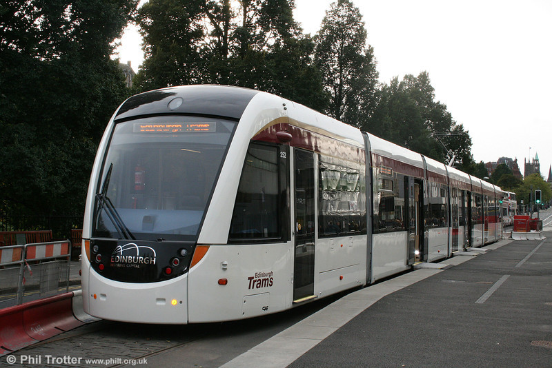 Edinburgh's controversial new tramway system has still to be completed on a route running from Edinburgh Airport, across the City Centre to Leith and Newhaven, latest estimates are that it will open in 2014, although this is subject to revision. Car 252 is seen on display in Princes Street on 17th October 2010.