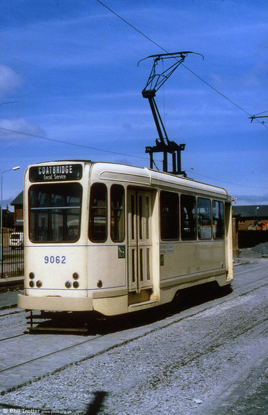 A rear view of Brussels 9062 at Summerlee Heritage Museum prior to being converted to a double ended car.