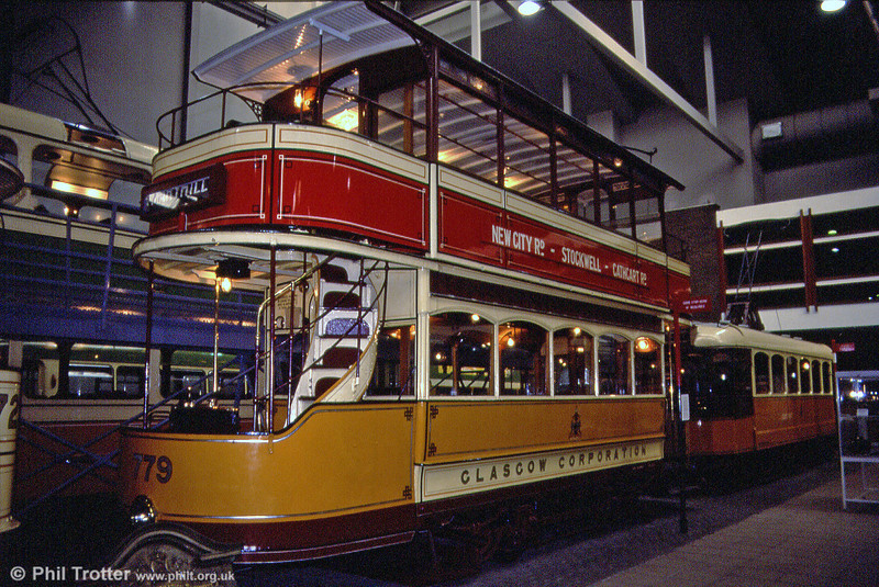 Glasgow 779, a 1900-built standard with open balcony. It is displayed as a red route (Maryhill to Mount Florida) car. Kelvin Hall, 4th September 1990.