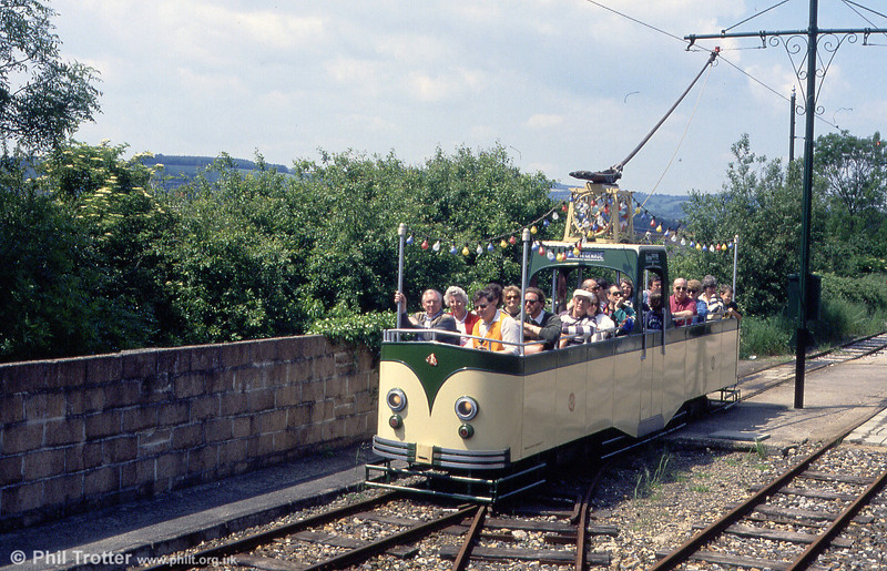 Seaton 4 is a narrow gauge replica of a Blackpool open 'Boat' car, seen here at Colyton on 30th May 1994.