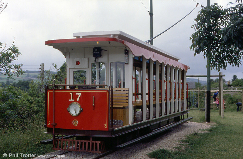 Seaton, Devon, narrow gauge tramway car 17 at Colyton on 1st July 1990. This 48 seat toastrack car was built in 1989.
