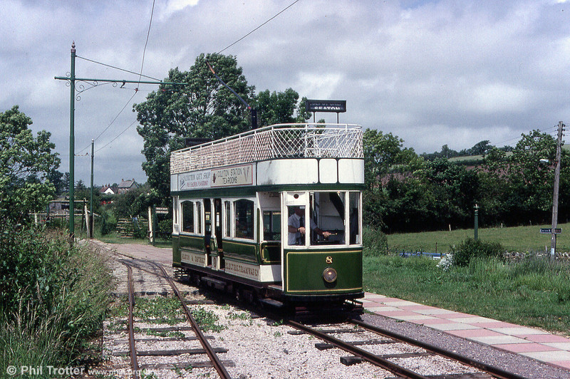 Seaton car 8 at the extremity of the tramway at Colyton on 30th June 1990. The BR branch once continued behind the car to Seaton Junction on the Exter to Waterloo line.