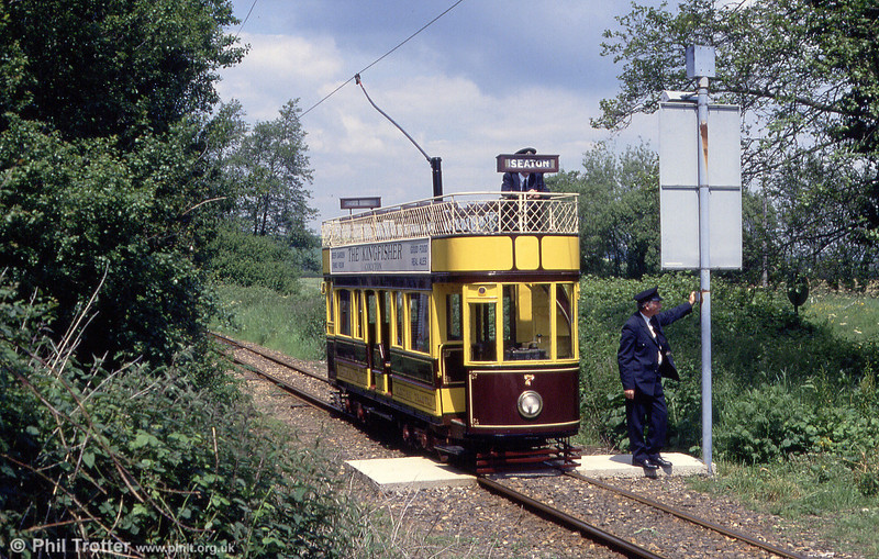 The second on Seaton's 'standard' cars, no. 7 approaches Colyford on 30th May, 1994.