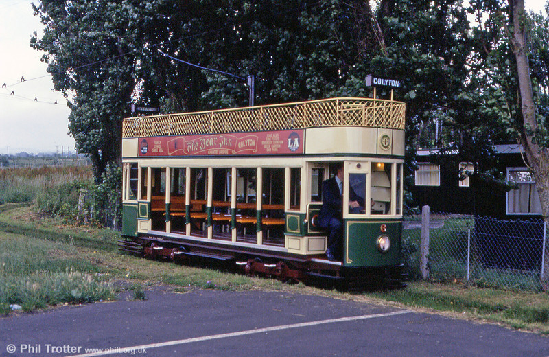 Car 6 arrives at Seaton on 30th June 1990. One of three 'standard' cars, no. 6 was built in 1955 for the former Eastbourne operation.