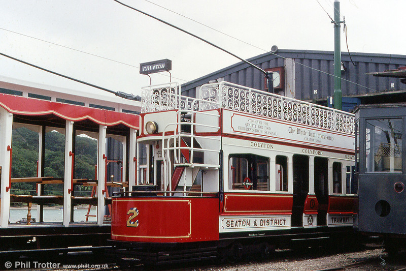 Seaton car 2 at the depot on 30th June 1990. Built in 1964, this car is based on a Metropolitan Electric Tramways/London United A class car, complete with Robinson steps.