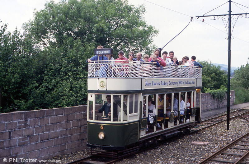 Seaton car 8 leaving Colyton on 30th May, 1994. Colyton terminus is on the site of the former Southern Railway Colyton station, as the tramway is built mainly on the former BR Seaton branch.