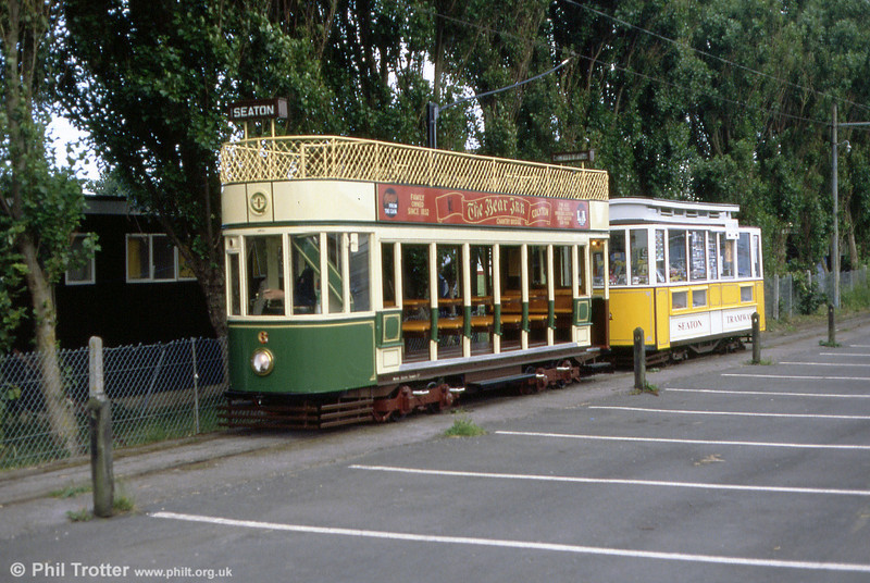 At the end of service, car 6 tows mobile shop trailer 01 back to the depot on 30th June 1990.