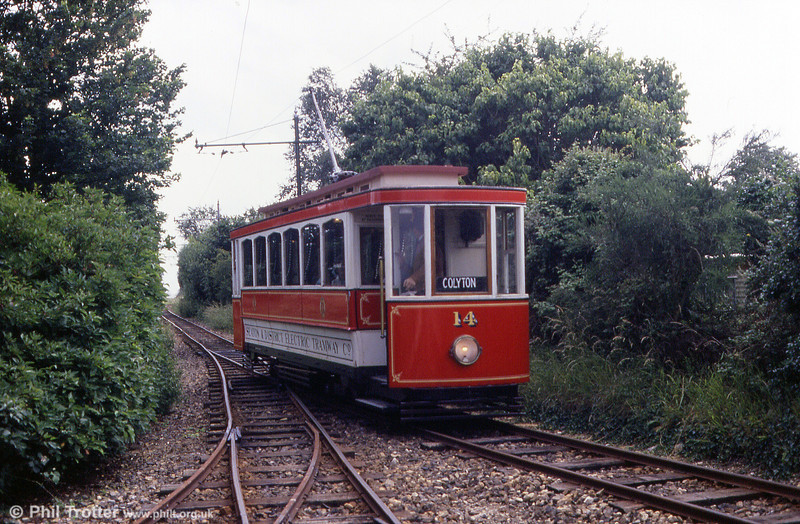 Seaton car 14 approaching Colyford on 30th June 1990.