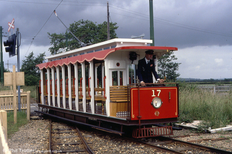 Car 17 at Colyford on 1st July 1990. The car owes much to Manx Electric Railway design.