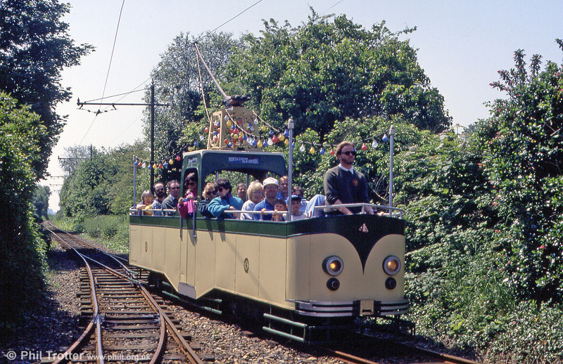 Seaton 'Boat' car 4 approaches Colyford on 30th May 1994. No. 4 was built in 1961 and has seats for 20 passengers.