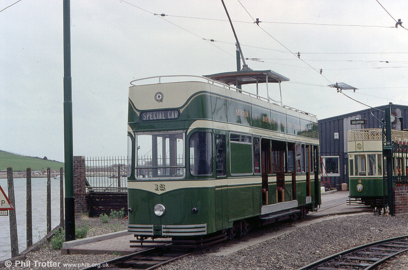 A closer look at car 12 on 30th June 1990. This streamlined car was rebuilt in 1980 from a single decker originating in 1966.