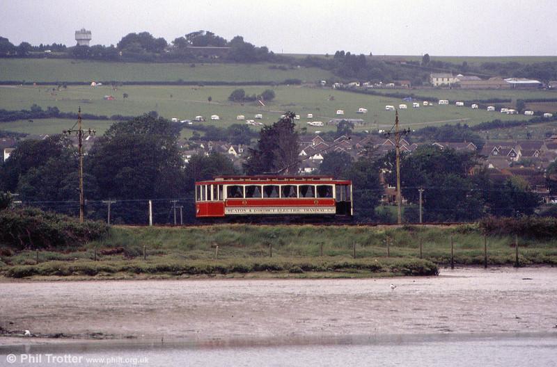 Car 14 alongside the River Axe on 1st July 1990.