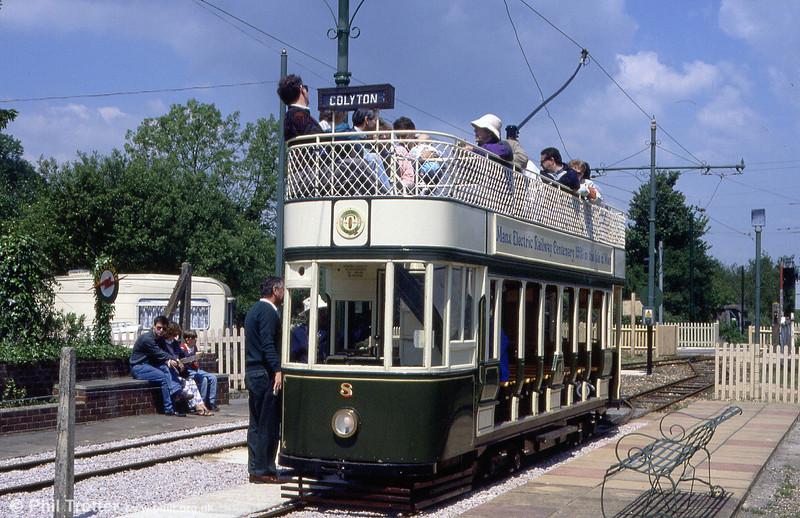 Car 8 waits at Colyford on 30th May, 1994.