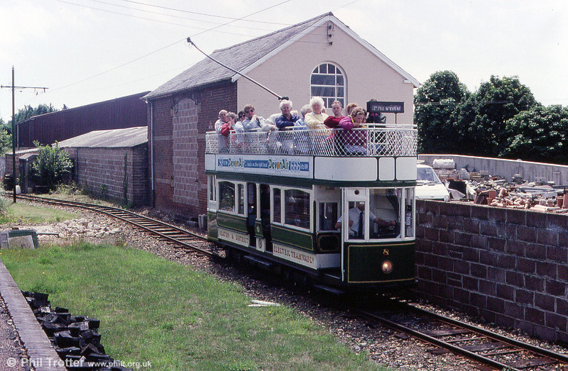 Seaton car 8 arriving at Colyton on 30th June 1990. Seating capacity of no. 8 is 41.