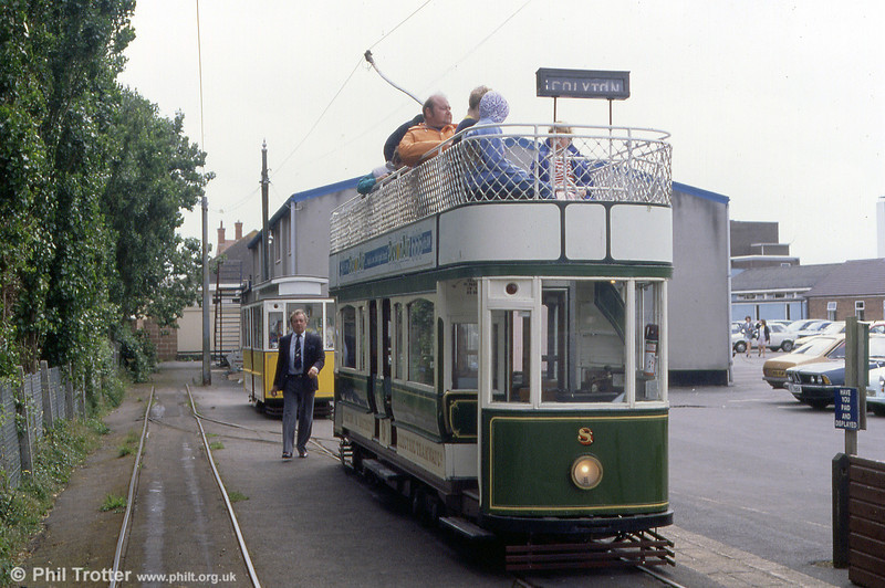 Car 8 at Seaton terminus on 1st July 1990. This is the third 'standard' car, built in 1968.