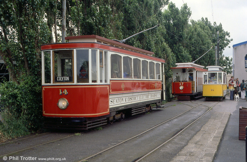 Cars 14, 17 and 01 at Seaton terminus on 1st July 1990.