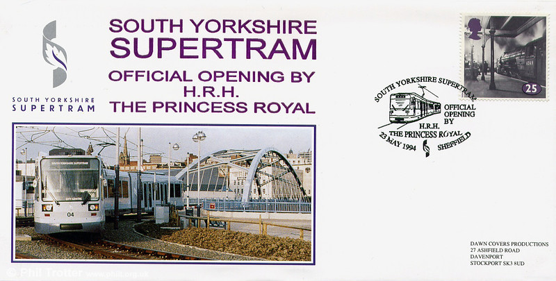 First day cover issued to commemorate the official opening of Sheffield Supertram on 23rd May 1994.