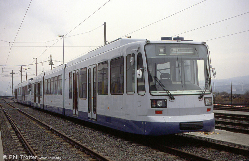 Two cars awaiting entry into service in November 1993. When Stagecoach took over operation, the cars were repainted into that operator's corporate livery.