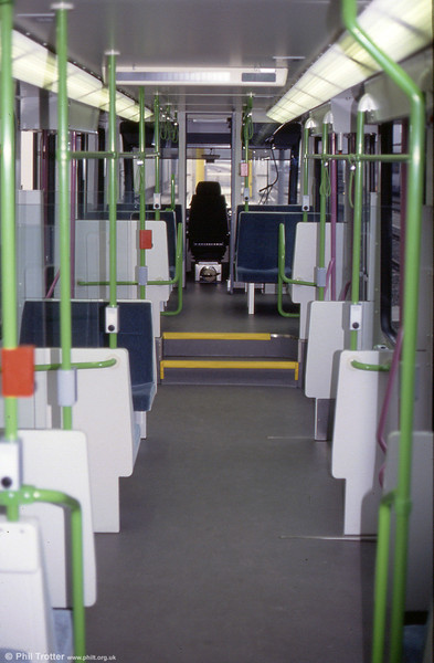 An interior view of one of the Sheffield cars. The trams are capable of carrying 88 seated and 155 standing passengers and are to a 40% low floor design.