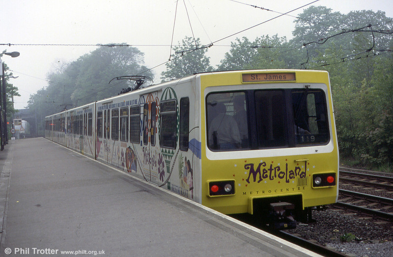 The same unidentified pair of metrocars in Metrocentre advertising livery at North Shields on 23rd May 1992.