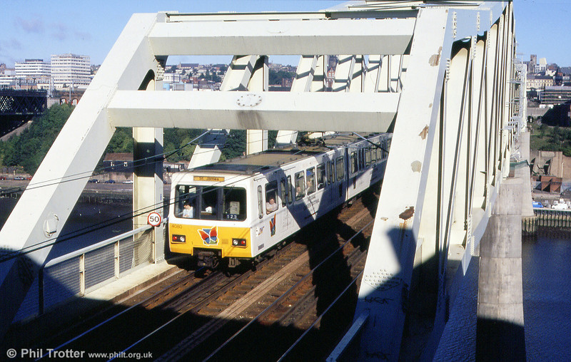 4080 in National Garden Festival advertising livery on the Queen Elizabeth II Bridge on 4th September 1990.