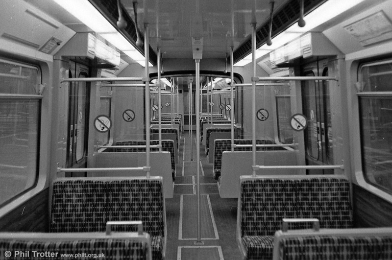 The interior of one of the Tyne & Wear Metrocars. Seating capacity is 68, with 232 standing.