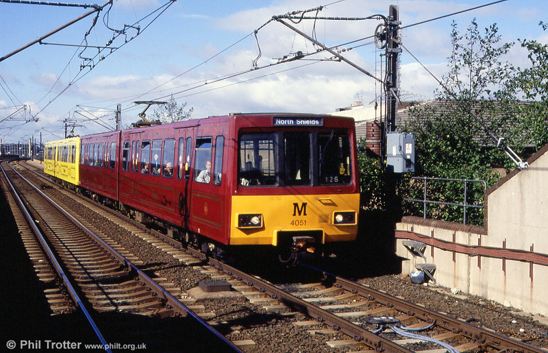 4051 in its claret livery to commemorate the 150th Anniversary of the Newcastle & North Shields Railway at Byker on 4th September 1990.