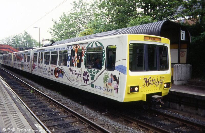 An unidentified pair of metrocars in Metrocentre advertising livery at South Gosforth on 23rd May 1992.