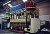 Between 1899 and 1920, Neath had a gas-powered tramway which ran between Briton Ferry and Skewen. The sole surviving car is seen here under restoration at the Neath Museum workshops in Milland Road in October 1989.
