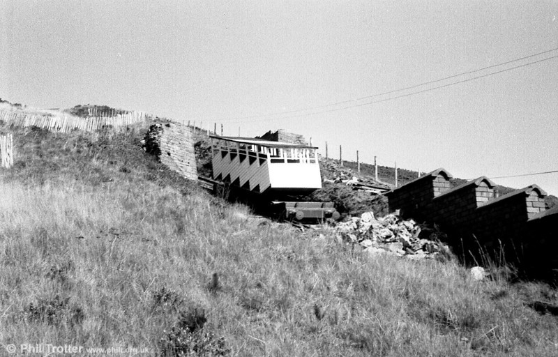 A further view of the Aberystwyth Cliff Railway showing the stepped profile of the cars.