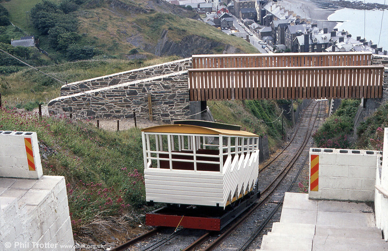 The second car on the Aberystwyth Cliff Railway at Constitution Hill, seen in July 1984.